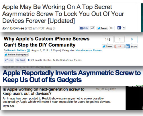 "Fake ""proprietary screw"" experiment shows how easy it is to hoodwink the Apple blogosphere"