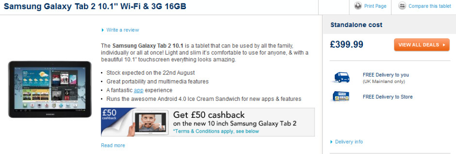 The Samsung GALAXY Tab 2 (10.1) can be pre-ordered now - Samsung GALAXY Tab 2 (10.1) to launch in U.K. on August 22nd for £300/£400