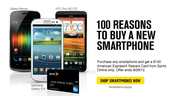 Sprint's new smartphone promotion - Sprint giving away $100 Amex Reward Card to new line smartphone buyers
