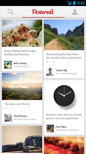 Screenshots from Pinterest for Android