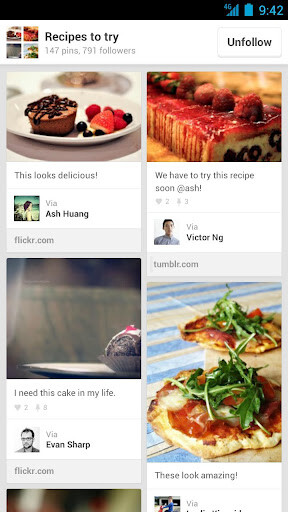 Screenshots from Pinterest for Android - Pinterest now available for Android, Apple iPad