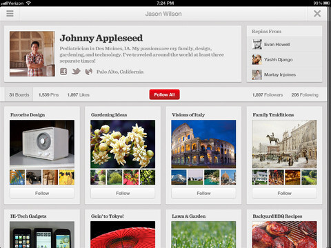 Pinterest for the Apple iPad - Pinterest now available for Android, Apple iPad