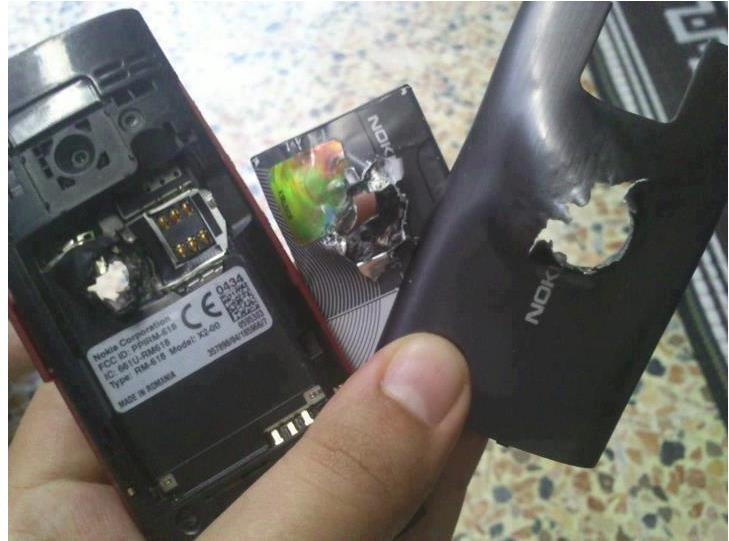 Nokia X2 after stopping a bullet - Nokia X2 saves a man's life