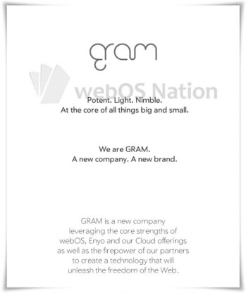 HP is spinning off the WebOS division into a new company named Gram