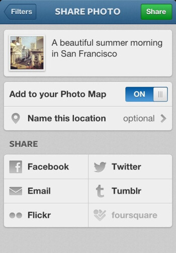 New Instagram feature Photo Maps (L), updated profile page with larger photo grids (C), and new photo upload screen