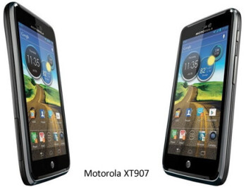 Two different looks at the Motorola XT907 with the diagram at right from the FCC documentation