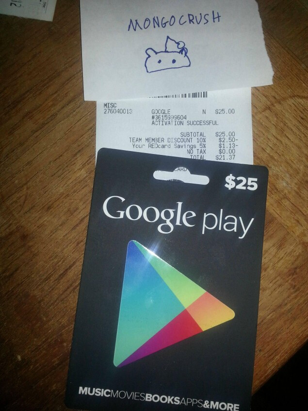 Purchase of a $25 Google Play card let to a successful redemption - Google Play gift cards found at Target; Radio Shack will also have them on sale