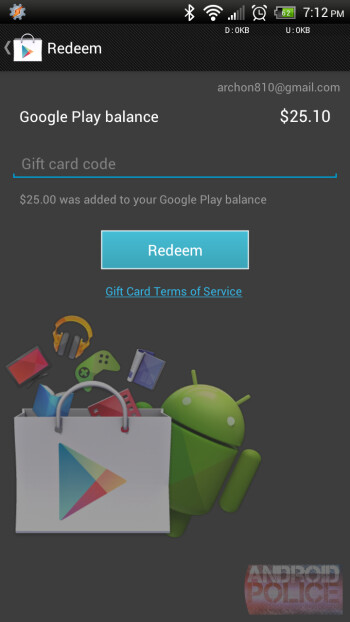 Purchase of a $25 Google Play card let to a successful redemption