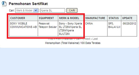 The database of Indonesian Ministry of Communications and Information Technology lists the Sony Xperia SL - Sony Xperia SL found on Sony website with dual-core 1.7GHz Qualcomm S3 doing the heavy lifting