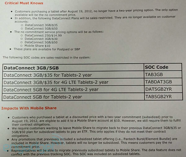 This leaked memo says tablet subsidies are over for AT&T - Leaked memo reveals that AT&T will no longer subsidize tablets