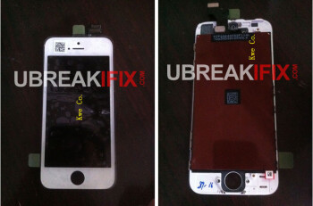 The two pictures at left and center claim to show the display assembly on the new Apple iPhone 5 while the picture at far right shows the serial numbers of the assembly and the connectors