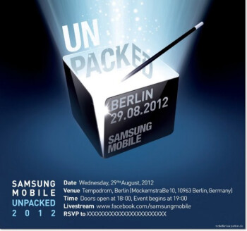 The Samsung GALAXY Note II should be introduced at this event