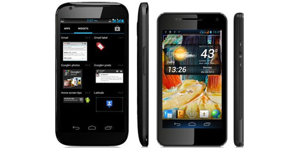 The Micromax Superfone Canvas A100 phablet at left, Micromax Superfone Pixel A90 at right - Indian firm Micromax offers affordable phablet for $180 U.S. dollar equivalent off contract
