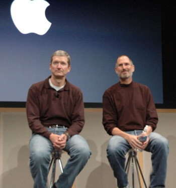 Apple's stock surge has taken place under the leadership of Tim Cook (L) and the late Steve Jobs