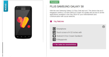 Is the Samsung Galaxy S II Plus available via Chilean carrier VTR?