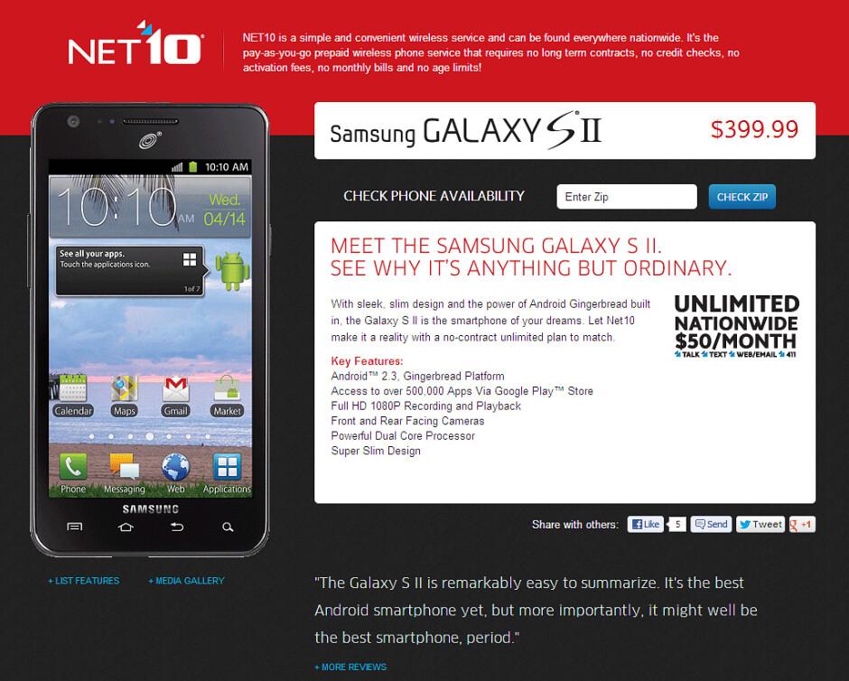Prepaid Samsung Galaxy S II coming soon to Net10