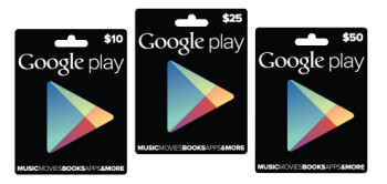 The gift cards are available in 3 denominations