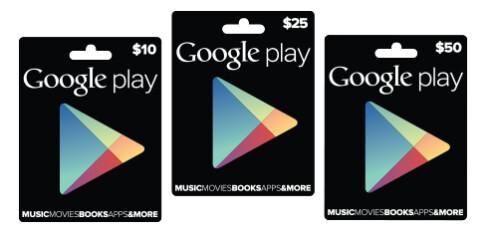 The gift cards are available in 3 denominations - Google Play gift cards are now official and will be found at Radio Shack, Target and GameStop