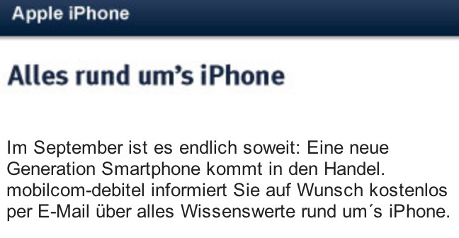 German carrier says the Apple iPhone is coming nest month - German carrier announces September availability of the next Apple iPhone