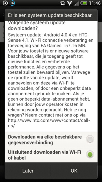 Images of the Android 4.0.4 update for the HTC One S in Dutch, including the EA Gamebox gaming hub