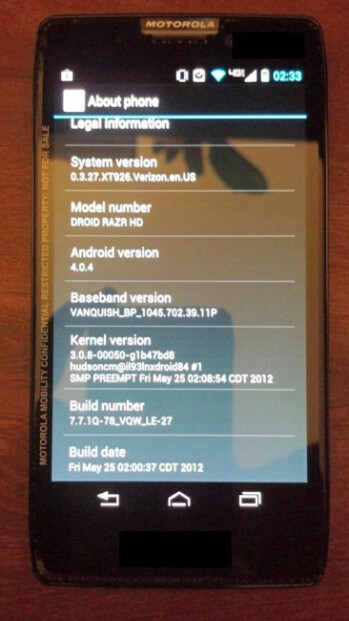 The Motorola DROID RAZR HD has been seen running Android 4.0 several times