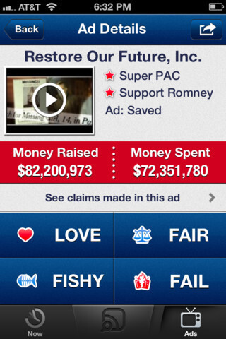 Super PAC app for iOS is Shazam for TV's nasty election ads, tells you what billionaire paid for the attacks