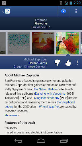 Screenshots from updated Pandora app for Android