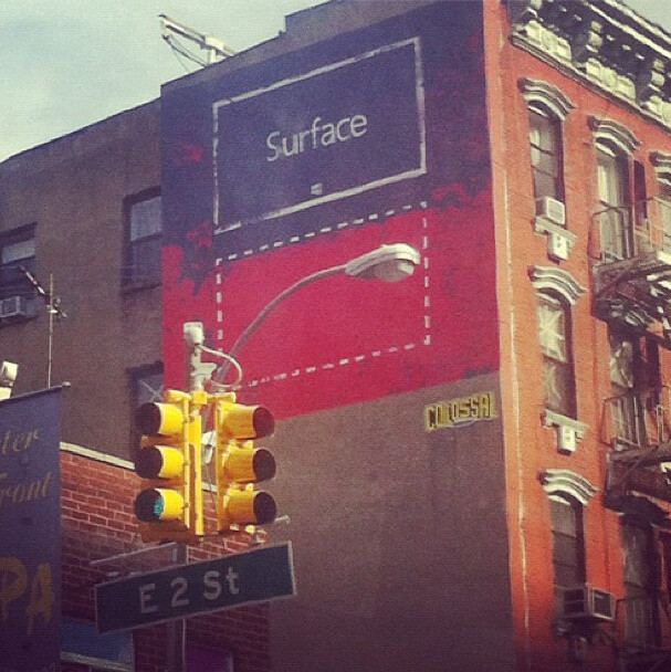 Microsoft Surface advertisements in New York City - Drawings of Microsoft Surface tablets start appearing on walls across New York City