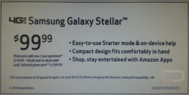 The Samsung Galaxy Stellar has a Starter mode - Leaked ad shows Verizon bound Samsung Galaxy Stellar for $99.99 with Starter mode and Amazon apps