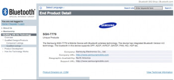 Mystery device SGH-T779 has received its Bluetooth SIG certification