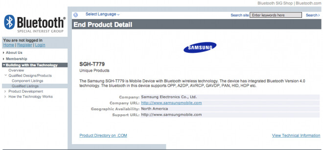 Mystery device SGH-T779 has received its Bluetooth SIG certification - Samsung's SGH-T779 gets Bluetooth SIG certification on the way to T-Mobile
