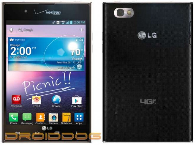 The LG Intuition for Verizon - LG Intuition pictured with Verizon branding and possible September 15th launch date