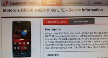 The Motorola DROID RAZR M in the new  Verizon Equipment Guide
