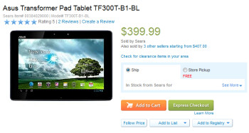 Get a free keyboard dock when you buy the ASUS Transformer Pad TF300 from Sears