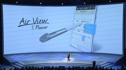 The most amazing new feature is AirView - hover actions for the S Pen. Hover the tip of the S Pen around half an inch (10mm) above the screen and you get to peek inside applications.