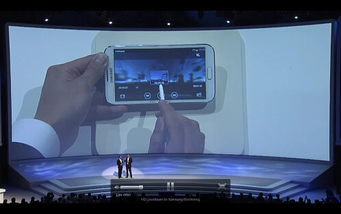 PopUp Video is something Samsung borrowed from the S III, allowing you to play a video on top of what you have on the screen. It's not directly S Pen related but you can move around the video with the stylus while you're doing other stuff.