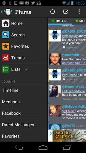 "Plume for Twitter tweaks its UI for 7"" tablets"