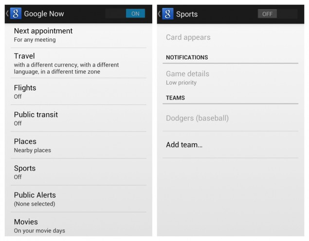 Settings for Google Now after update - Google Maps, Google Now both get updates