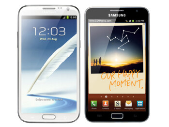 Galaxy Note II (left) next to Galaxy Note (right)