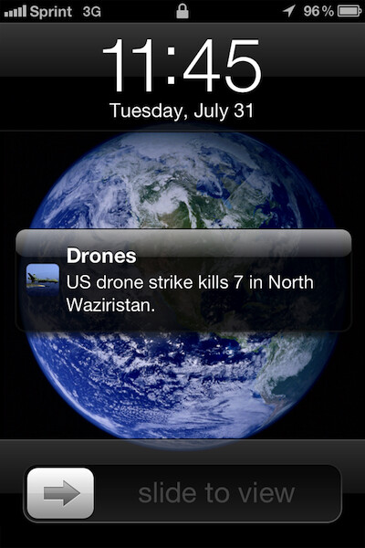 This mock-up shows the push notification used in Drones+ - Apple rejects app that reveals unmanned drone attacks