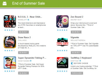 The Google Play Store is running its end of Summer sale