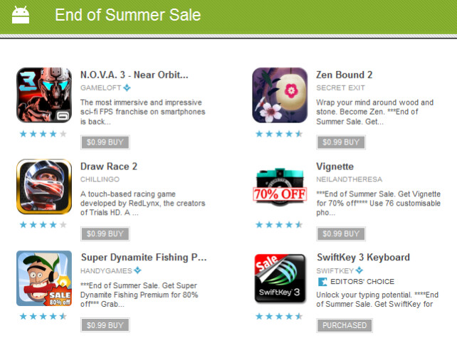 The Google Play Store is running its end of Summer sale - Google Play Store starts end of Summer sale