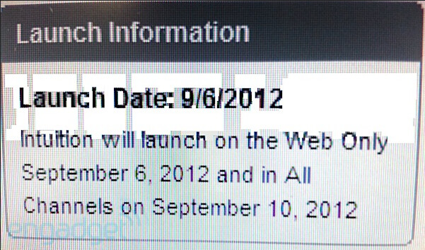 Leaked screenshot from an internal Verizon Equipment Guide reveals the launch dates for the LG Intuition (L) - Verizon's LG Intuition to launch online September 6th, and in stores on the 10th