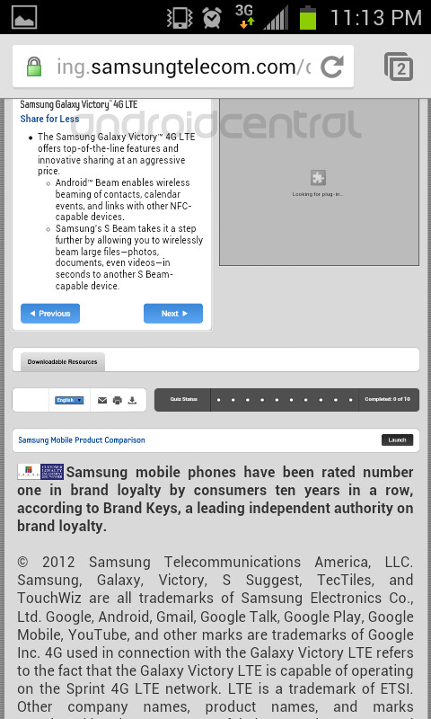 Leaked information about the Samsung Victory 4G LTE