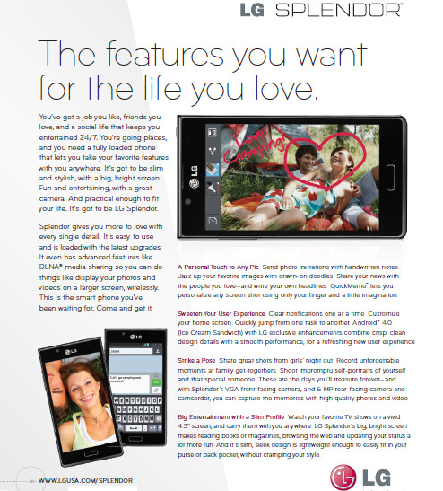 LG outs the LG Splendor for U.S. Cellular - LG's products page reveals the unannounced LG Splendor heading to U.S. Cellular