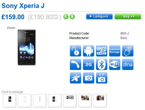 Sony Xperia J priced around $300 in the U.K.