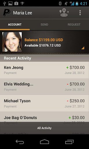 Screenshots of updated PayPal for Android app