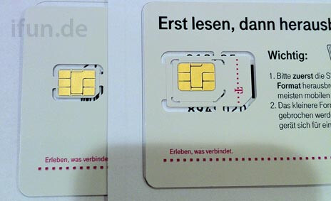 Nano SIM card, supposedly for the new iPhone - iPhone 5 Nano SIM card photographed in Europe