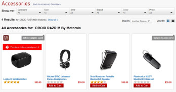 Motorola DROID RAZR M 4G LTE accessories page is now up on Verizon's site