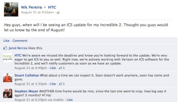 """HTC: """"Sorry, the Incredible 2 update is also running late"""""""